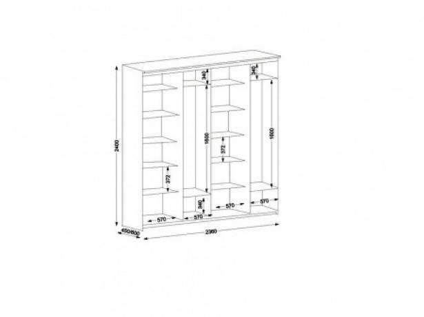 Наполнение Шкаф-купе Эконом 4х дверный с 2 зеркальными дверями 2360